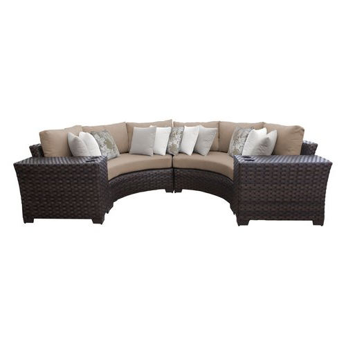 Recent Kathy Ireland River Brook 4 Piece Wicker Patio Furniture Set, Toffee In Oreland Patio Sofas With Cushions (View 17 of 20)