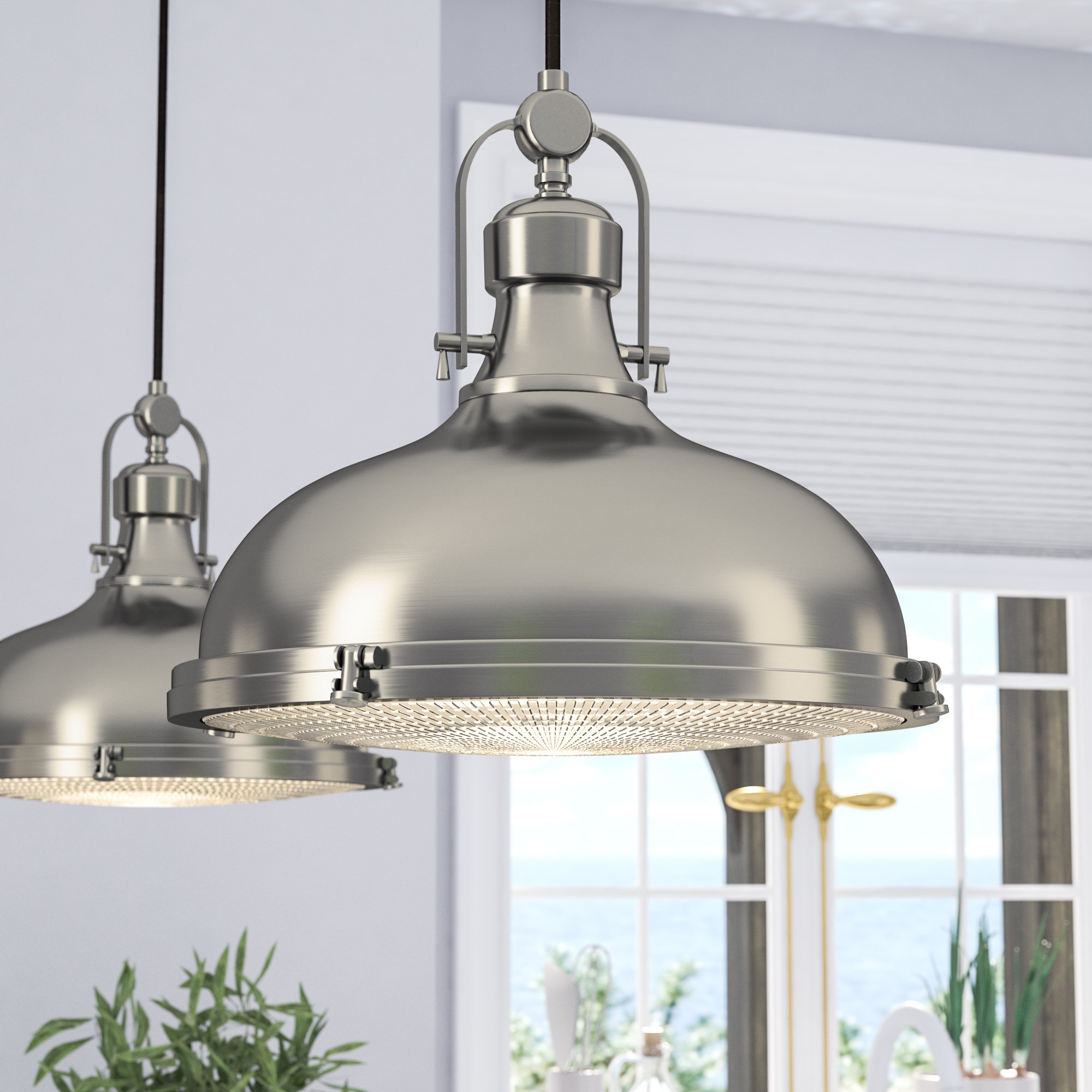 Recent Martinique 3 Light Kitchen Island Dome Pendants With Regard To Dome Metal Pendant Lighting You'll Love In  (View 18 of 20)