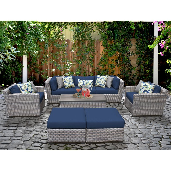 Recent Meeks 8 Piece Sofa Seating Group With Cushions Regarding Meeks Patio Sofas With Cushions (Gallery 6 of 20)
