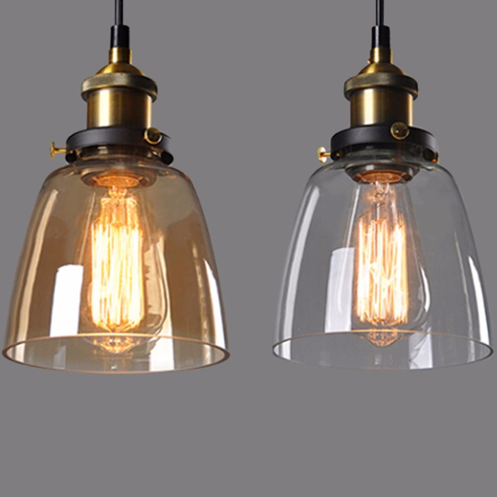 Recent New Vintage Industrial Diy Ceiling Lamp Light Glass Pendant With Vintage Edison 1 Light Bowl Pendants (Gallery 18 of 20)