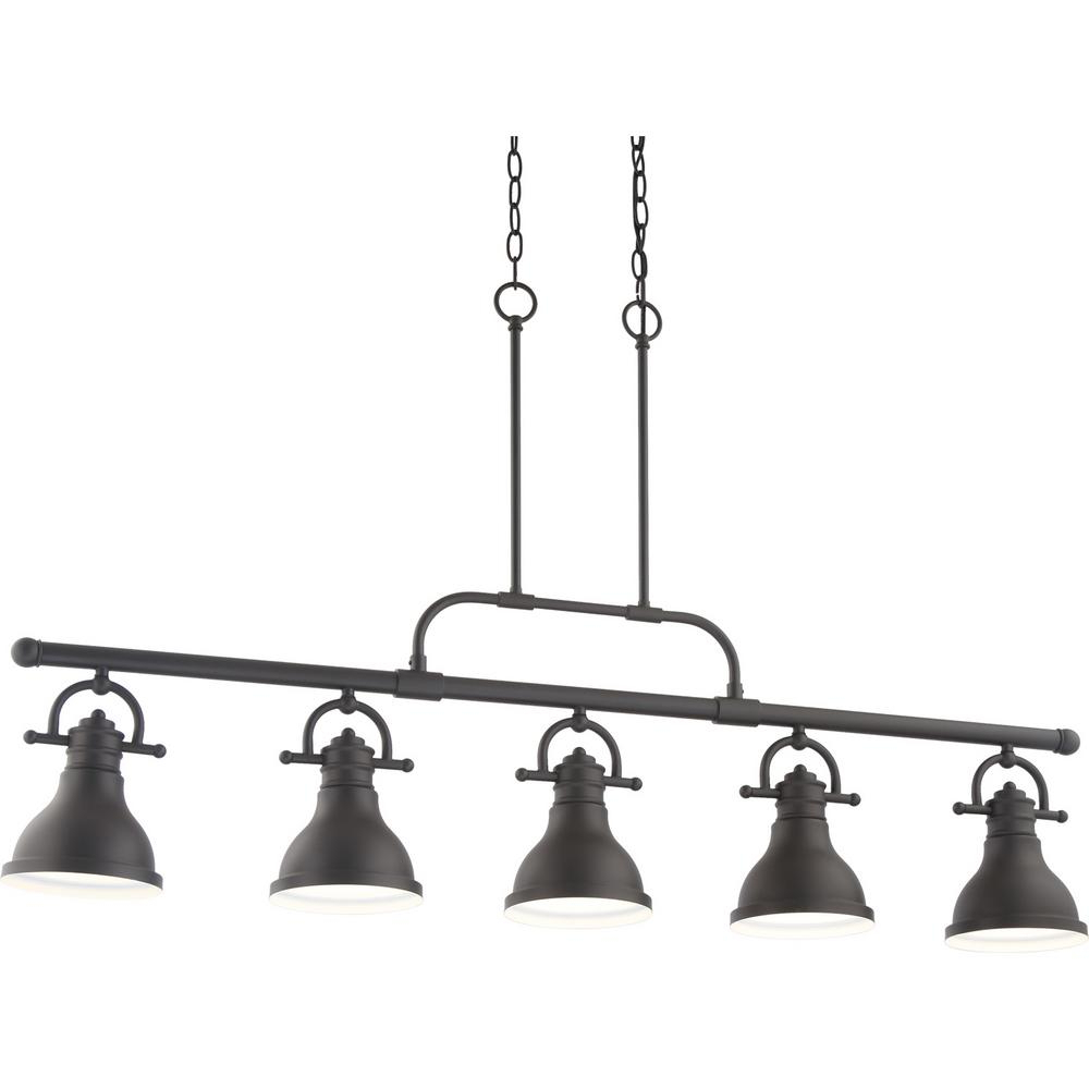 Recent Novogratz Vintage 5 Light Kitchen Island Bulb Pendants Regarding Volume Lighting 5 Light Integrated Led Indoor Foundry Bronze Linear Kitchen Island Hanging Pendant With Bell Shaped Bowls (View 11 of 20)