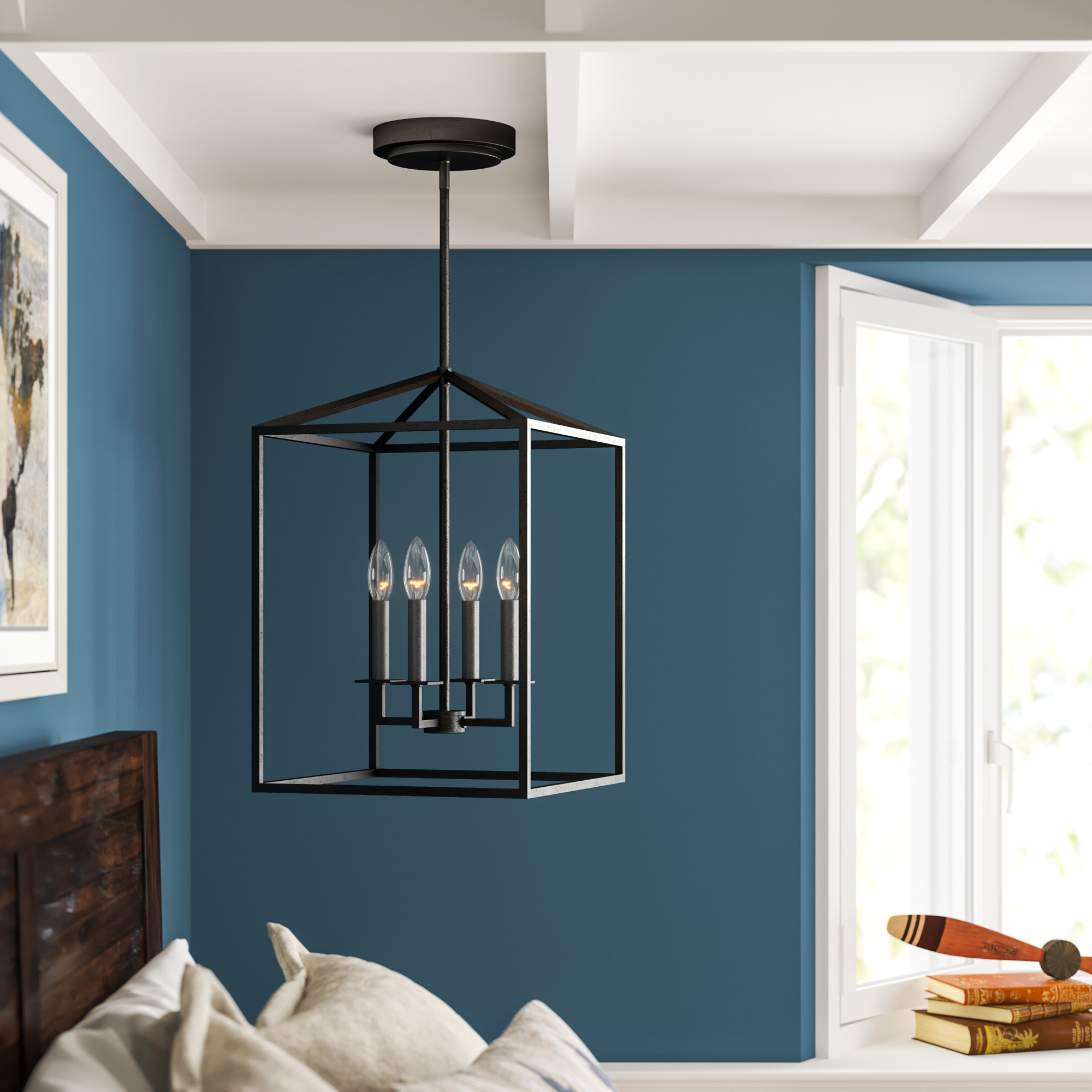 Recent Odie 4 Light Lantern Square/rectangle Pendant Regarding Finnick 4 Light Foyer Pendants (View 15 of 20)