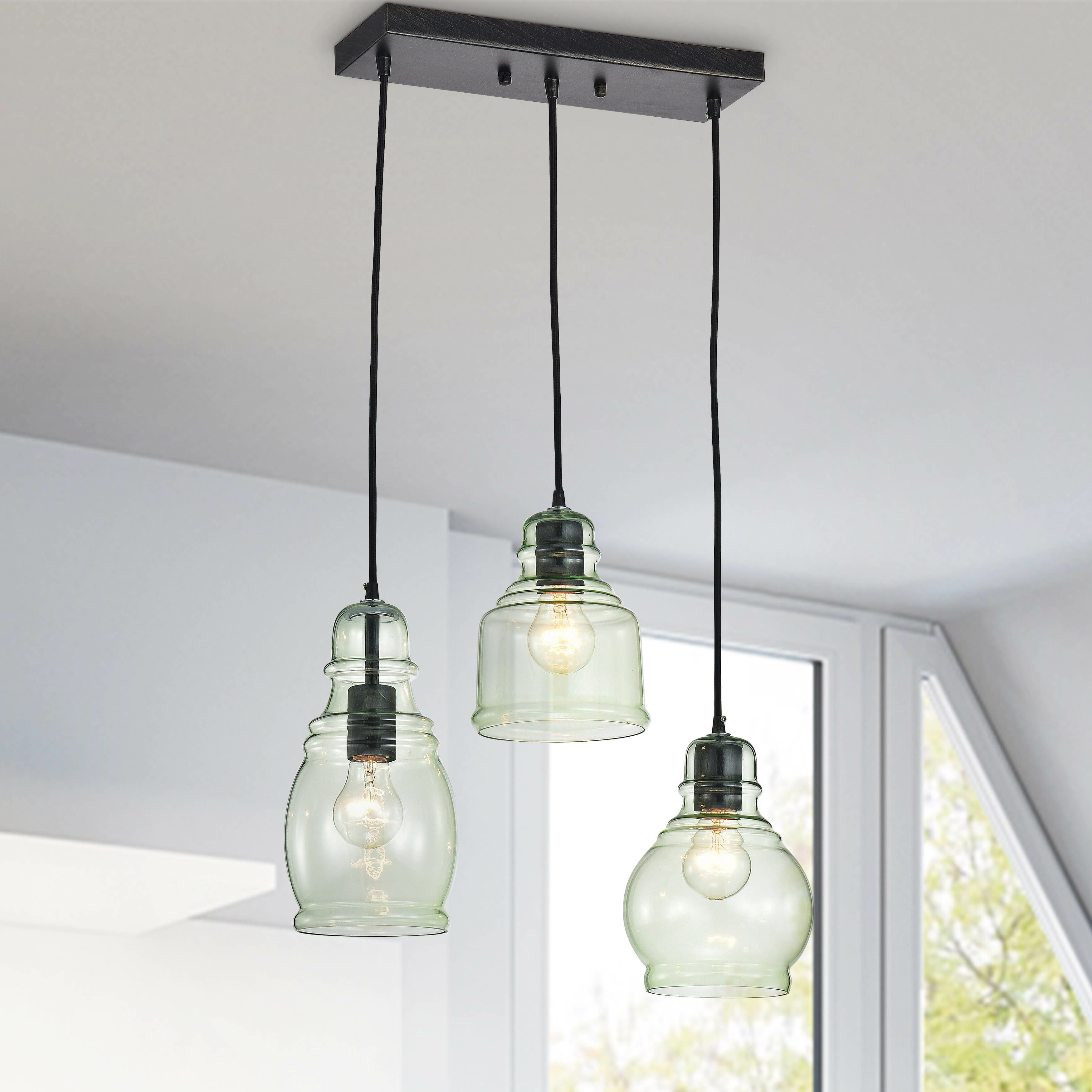 Recent Pruett 3 Light Cluster Bell Pendant With Regard To Vernice 3 Light Cluster Bell Pendants (View 10 of 20)