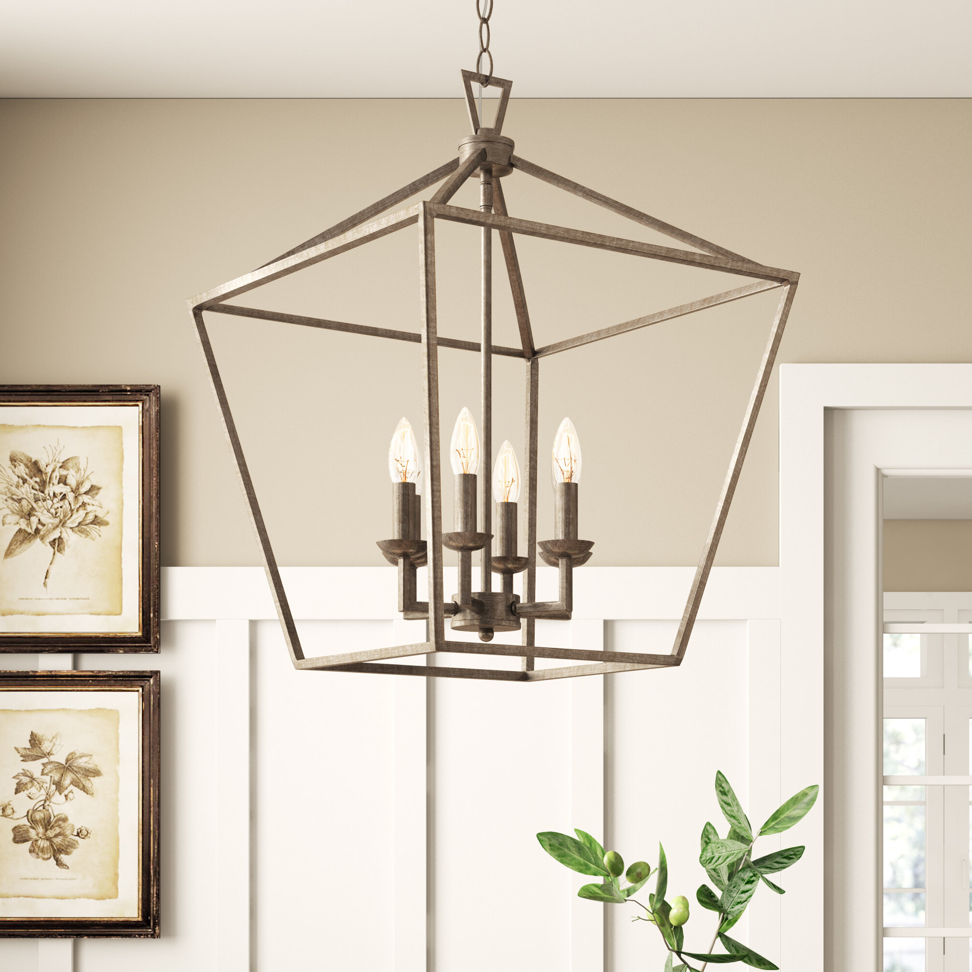 Recent Thorne 6 Light Lantern Square / Rectangle Pendants Inside Laurel Foundry Modern Farmhouse Carmen 6 Light Lantern Geometric Pendant (View 9 of 20)