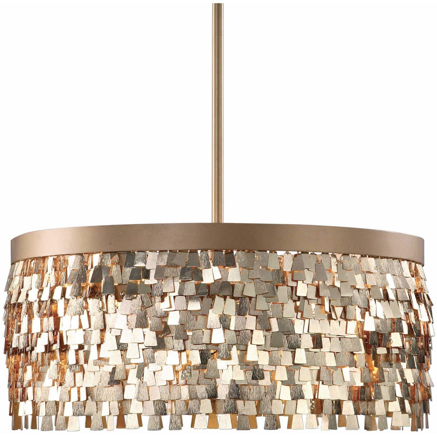 Recent Uttermost 22064 Tillie 3 Light Textured Gold Pendant Light Pertaining To Schutt 4 Light Kitchen Island Pendants (Gallery 18 of 20)