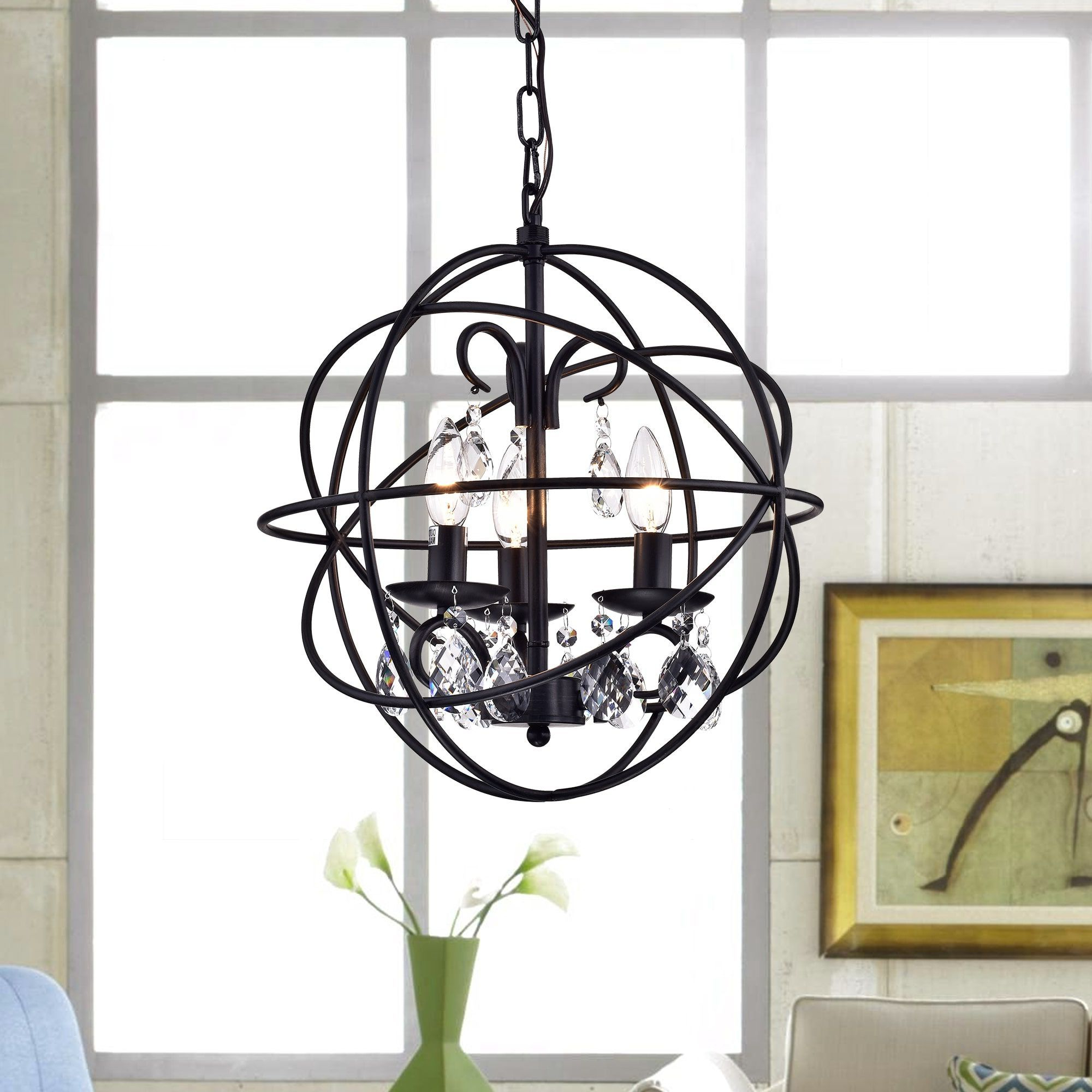Recent Warehouse Of Tiffany Lijane 3 Light Crystal Black Metal Hoop Intended For Alden 3 Light Single Globe Pendants (View 17 of 20)