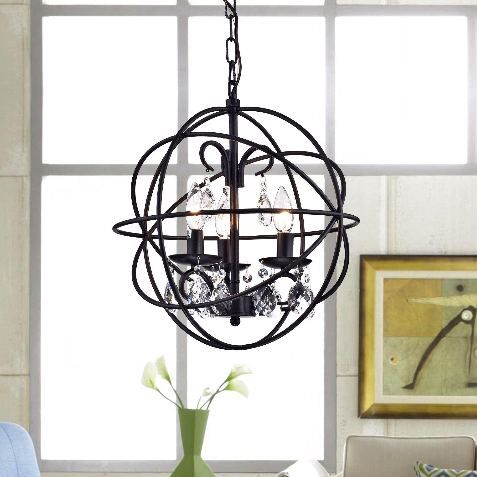 Recent Warehouse Of Tiffany Lijane 3 Light Crystal Black Metal Hoop Intended For Alden 3 Light Single Globe Pendants (View 17 of 20)