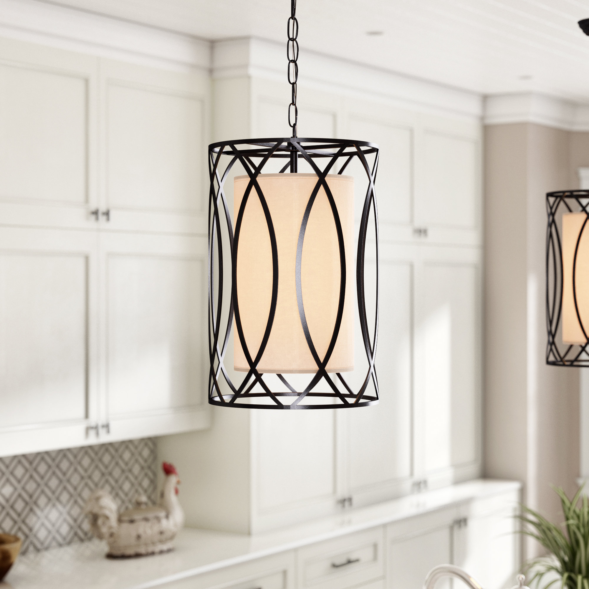 Recent Winston Porter Franck Wrought Iron 1 Light Cylinder Pendant Throughout Tadwick 3 Light Single Drum Chandeliers (Gallery 15 of 20)