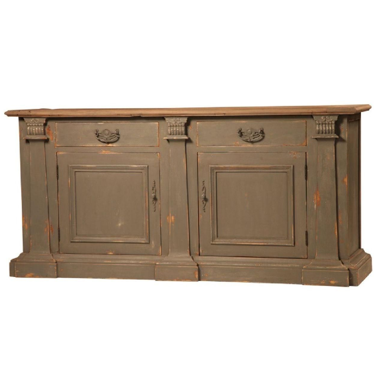 Reclaimed Elm Top With Distressed Painted Finish Two Drawers In 2019 Steinhatchee Reclaimed Pine 4 Door Sideboards (View 13 of 20)