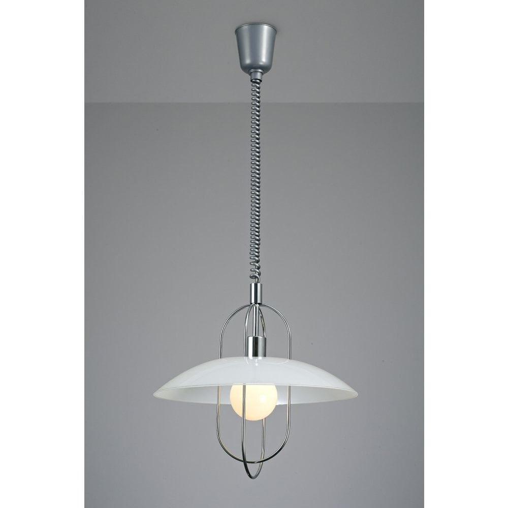 Riva Single Light Rise And Fall Ceiling Pendant In Polished Chrome Finish With Opal Glass Shade Intended For Most Popular Terry 1 Light Single Bell Pendants (View 13 of 20)