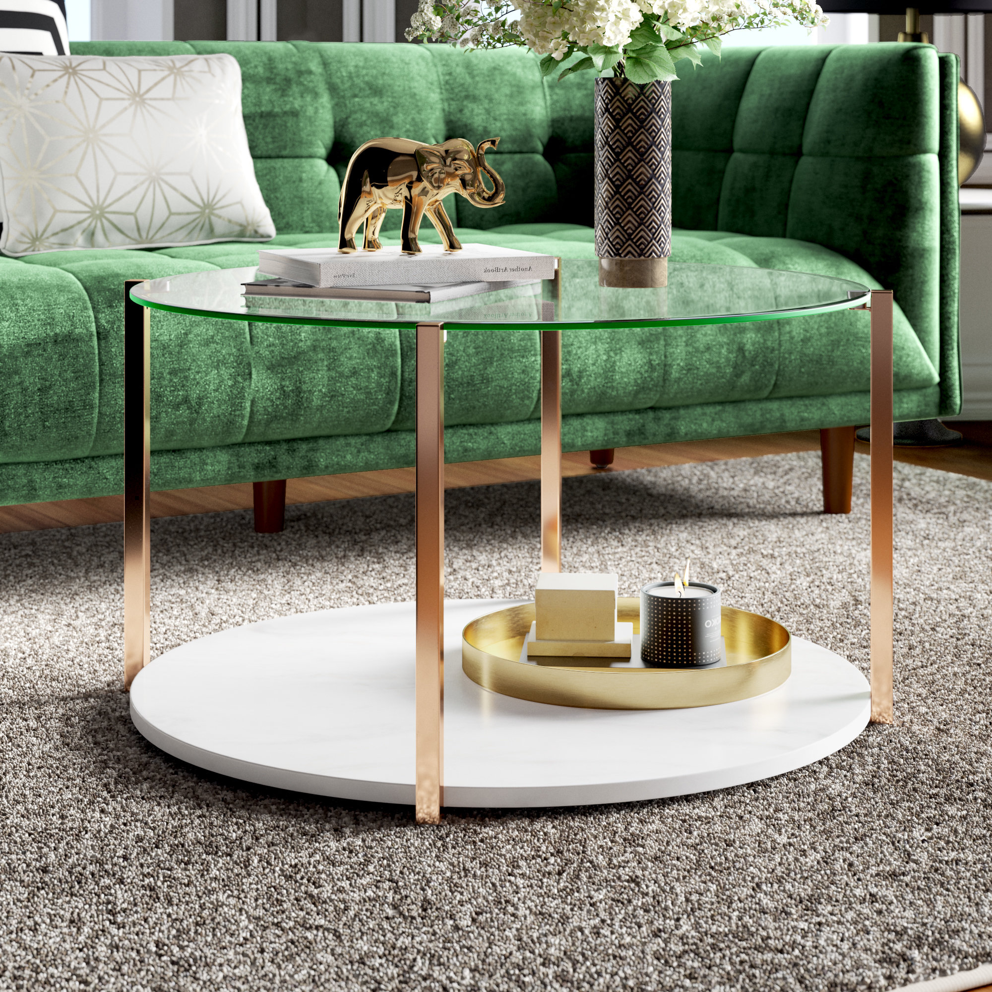 Robblee 4 Light Geometric Pendants With Regard To Well Liked Rose Gold Marble Coffee Table (View 14 of 20)