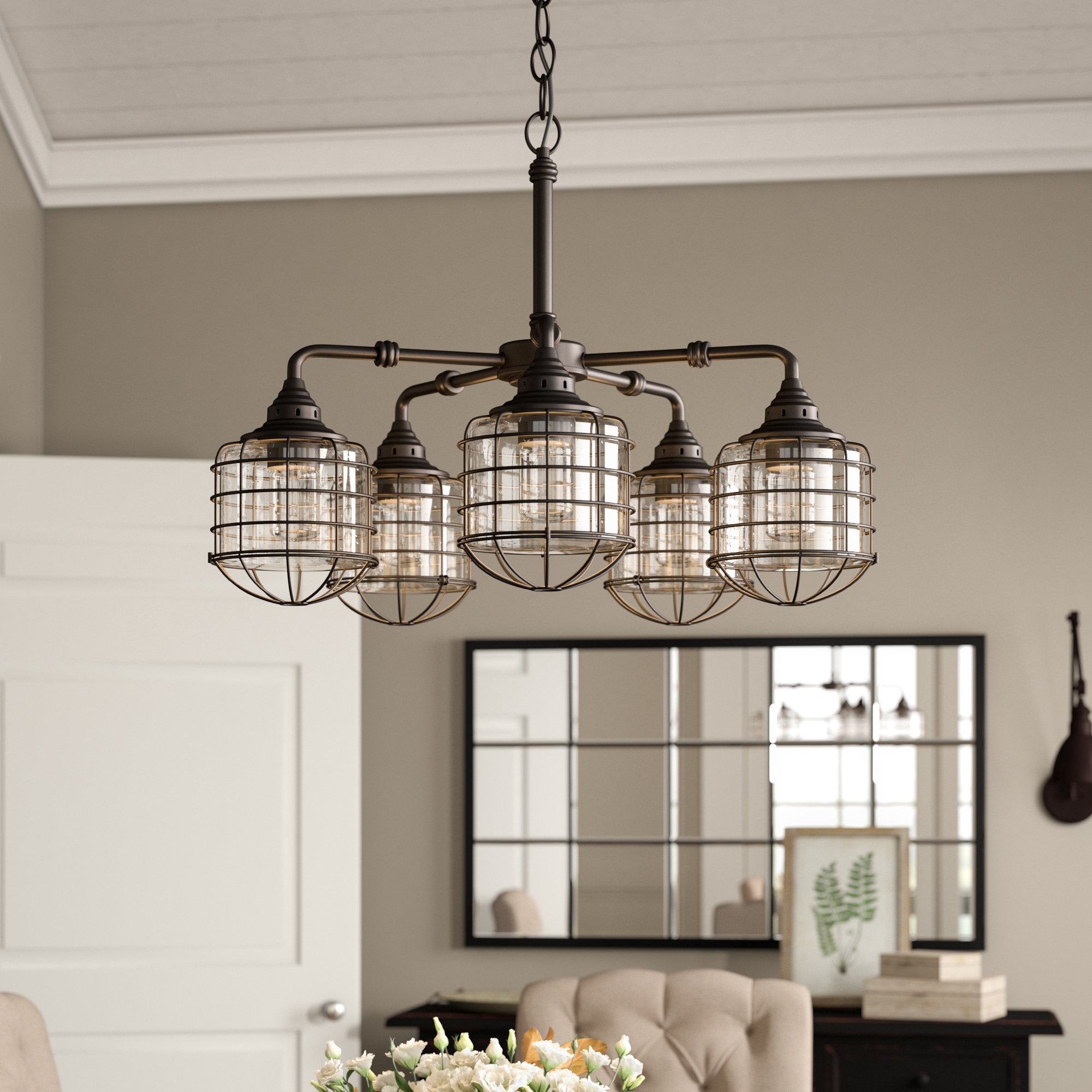 Roberts 5 Light Shaded Chandelier Throughout Popular Benedetto 5 Light Crystal Chandeliers (View 15 of 20)