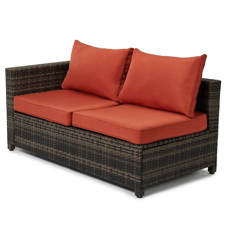 Roni Patio Sectional With Cushions Within Well Known Bullock Outdoor Wooden Loveseats With Cushions (View 19 of 20)