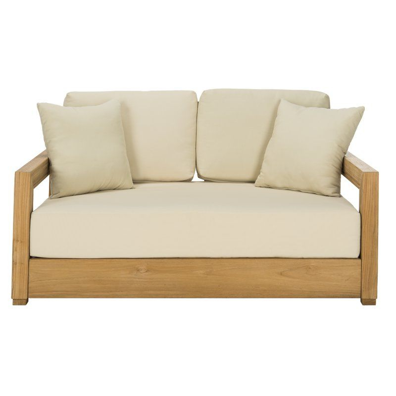 Rosecliff Heights Lakeland Teak Loveseat With Cushions Regarding Most Recently Released Huddleson Loveseats With Cushion (View 18 of 20)