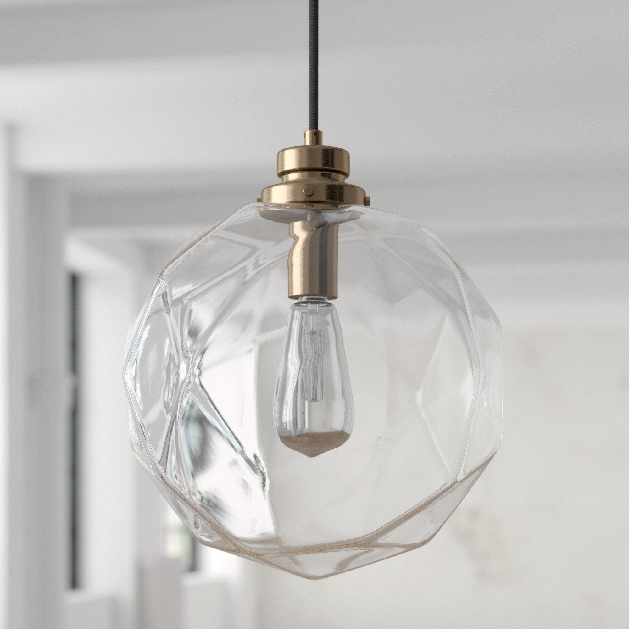 Roslindale 1 Light Single Bell Pendants Regarding Most Up To Date 1 Light Geometric Globe Pendant (View 17 of 20)