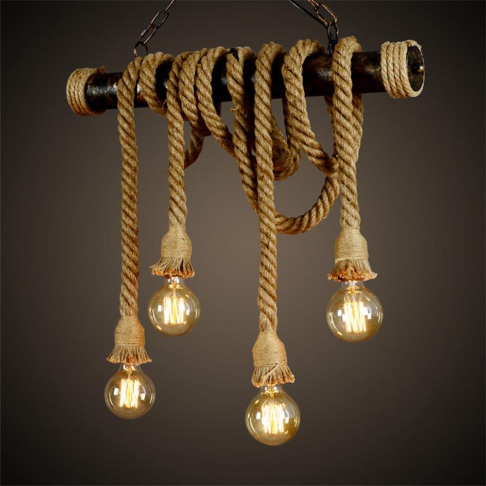 Rossi Industrial Vintage 1 Light Geometric Pendants Regarding Most Popular Vintage Bamboo Rope Pendant Lights E27 Led 6 Bulbs Loft (Gallery 14 of 20)