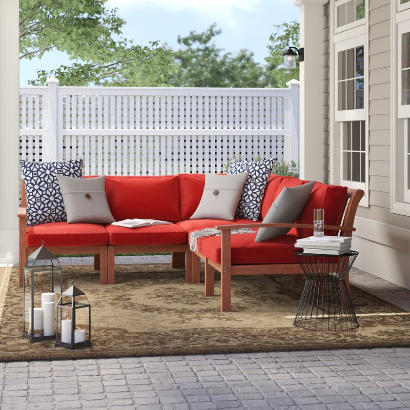 Rossi Patio Sectional With Cushions For Well Liked Antonia Teak Patio Sectionals With Cushions (View 14 of 20)