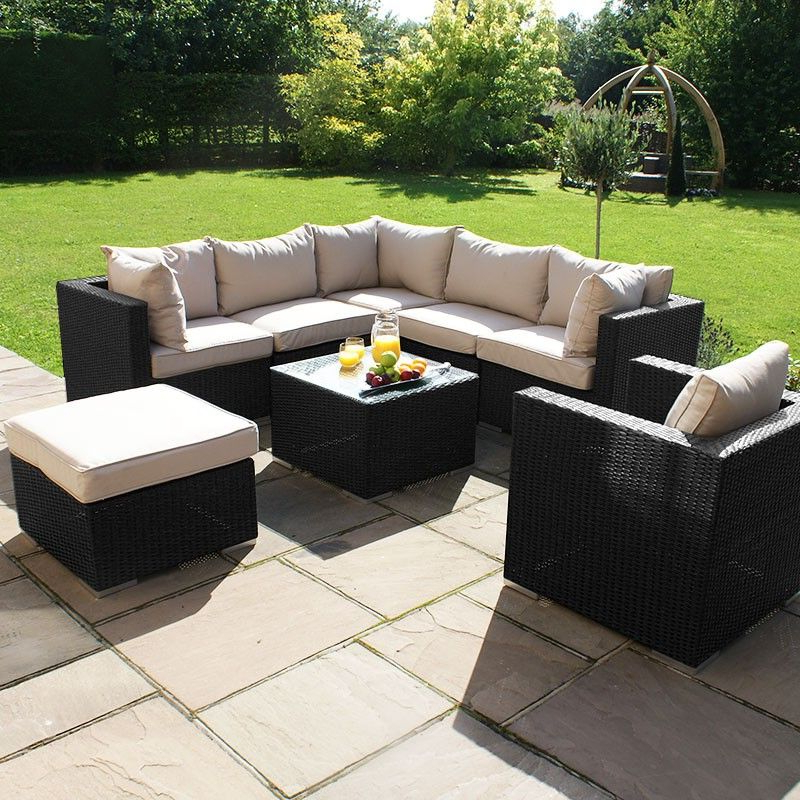 Rowley Patio Sofas Set With Cushions Intended For Current Maze Rattan – London Corner Sofa Set With Armchair (Gallery 17 of 20)