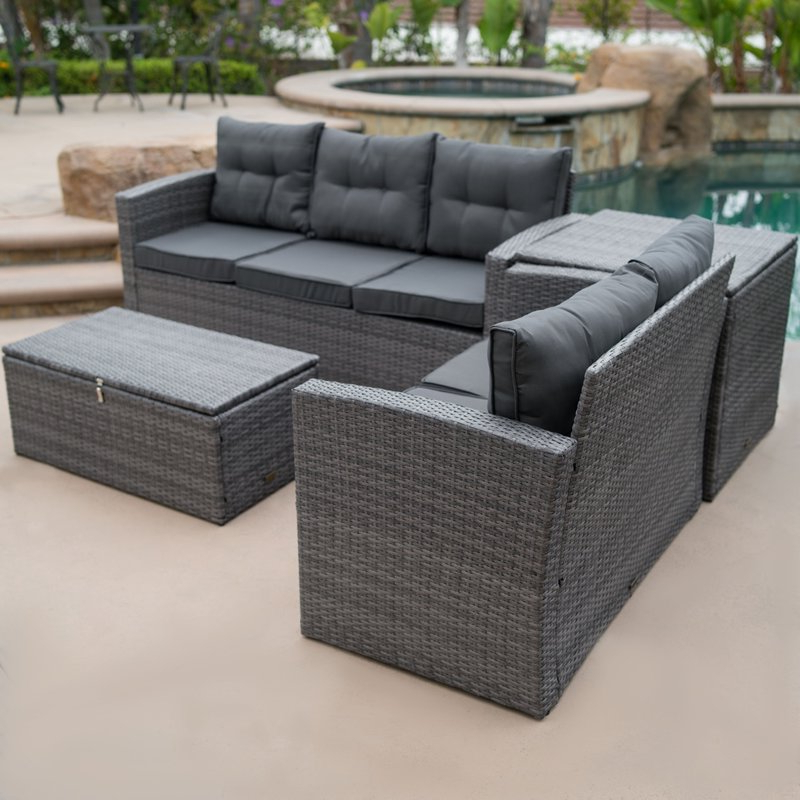 Rowley Patio Sofas Set With Cushions Intended For Most Current Rowley Patio Sofa Set With Cushions (View 18 of 20)