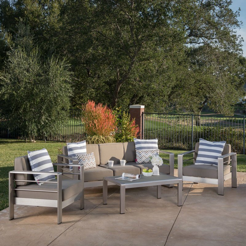 Royalston 4 Piece Sofa Set With Cushions Pertaining To Famous Royalston Patio Sofas With Cushions (View 11 of 20)
