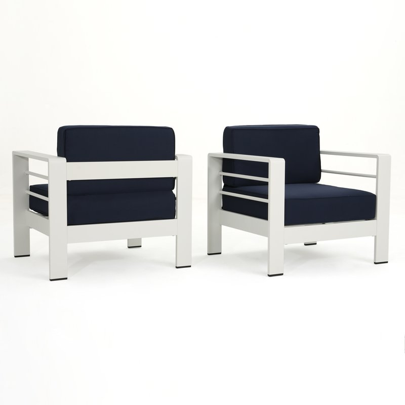 Royalston Outdoor Patio Chair With Cushions Regarding Trendy Royalston Patio Sofas With Cushions (View 12 of 20)