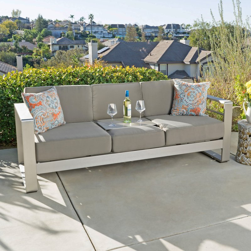 Royalston Patio Sofas With Cushions In Well Liked Royalston Patio Sofa With Cushions (Gallery 1 of 20)