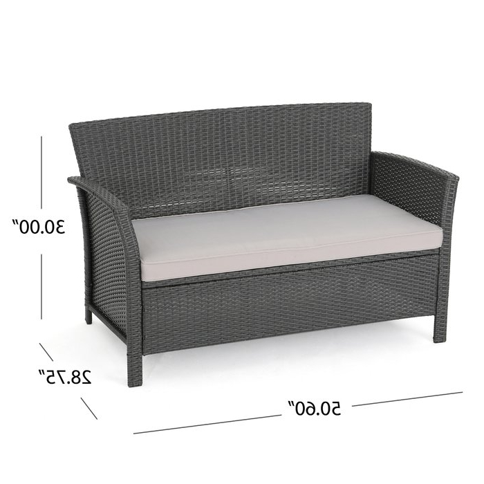 Rummond Outdoor Wicker Loveseat With Cushions Regarding Popular Wicker Loveseats (View 6 of 20)