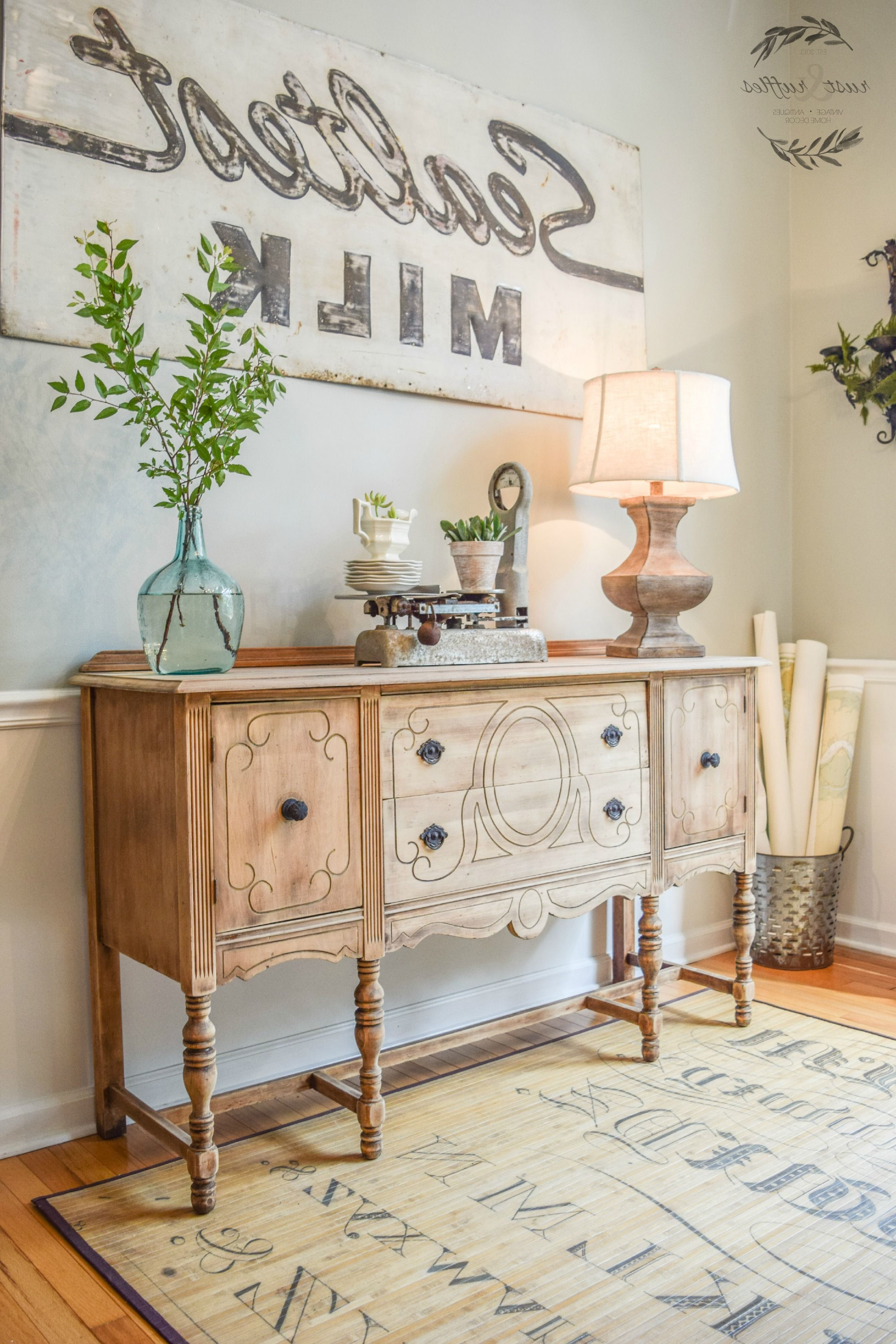 Rustic Sideboard Makeover Using A Wood Bleaching Technique With Most Recent Joyner Sideboards (View 19 of 20)