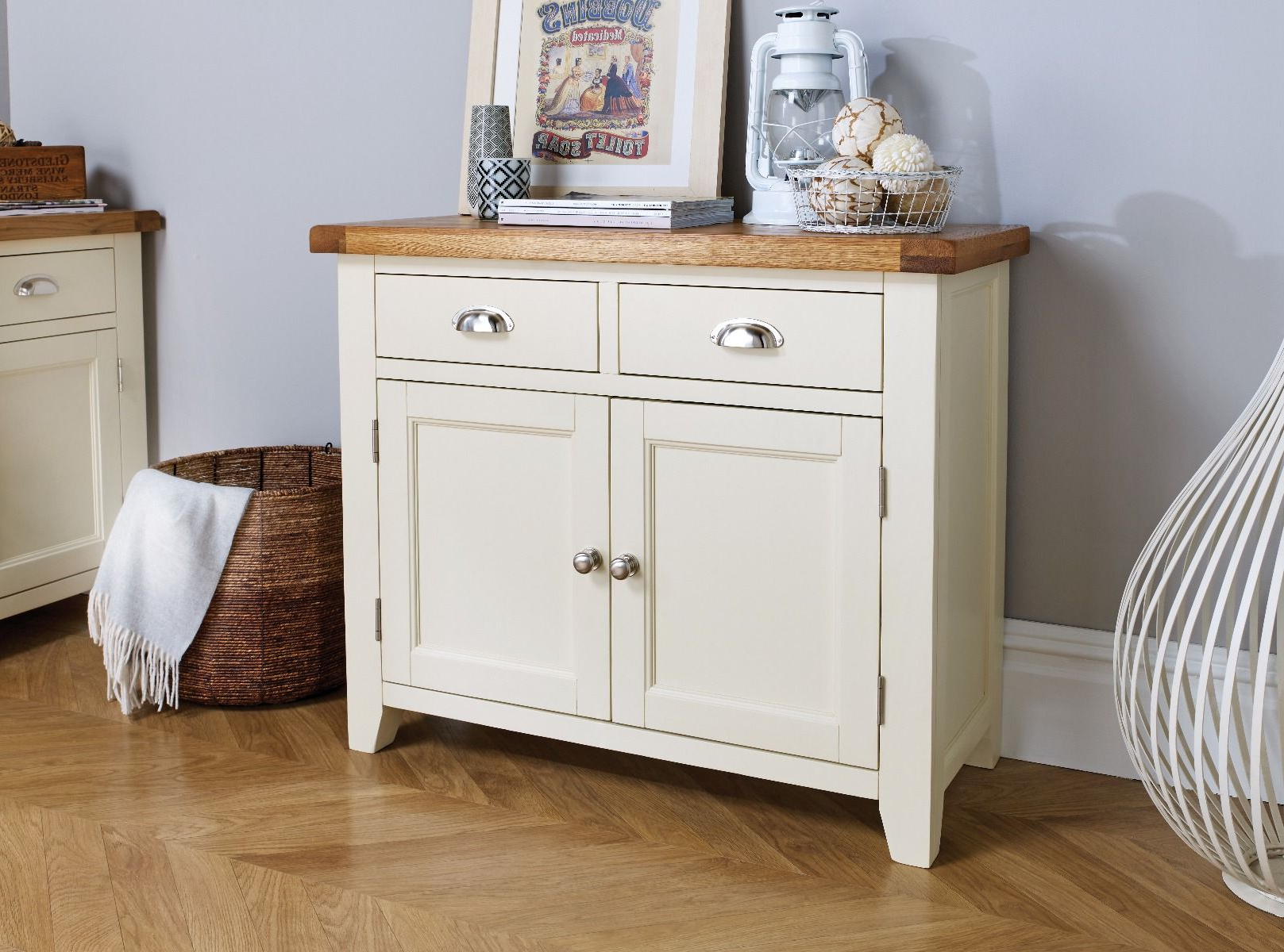 Rutherford Sideboards With Regard To Current Country Cottage 100Cm Cream Painted Oak Sideboard (Gallery 15 of 20)
