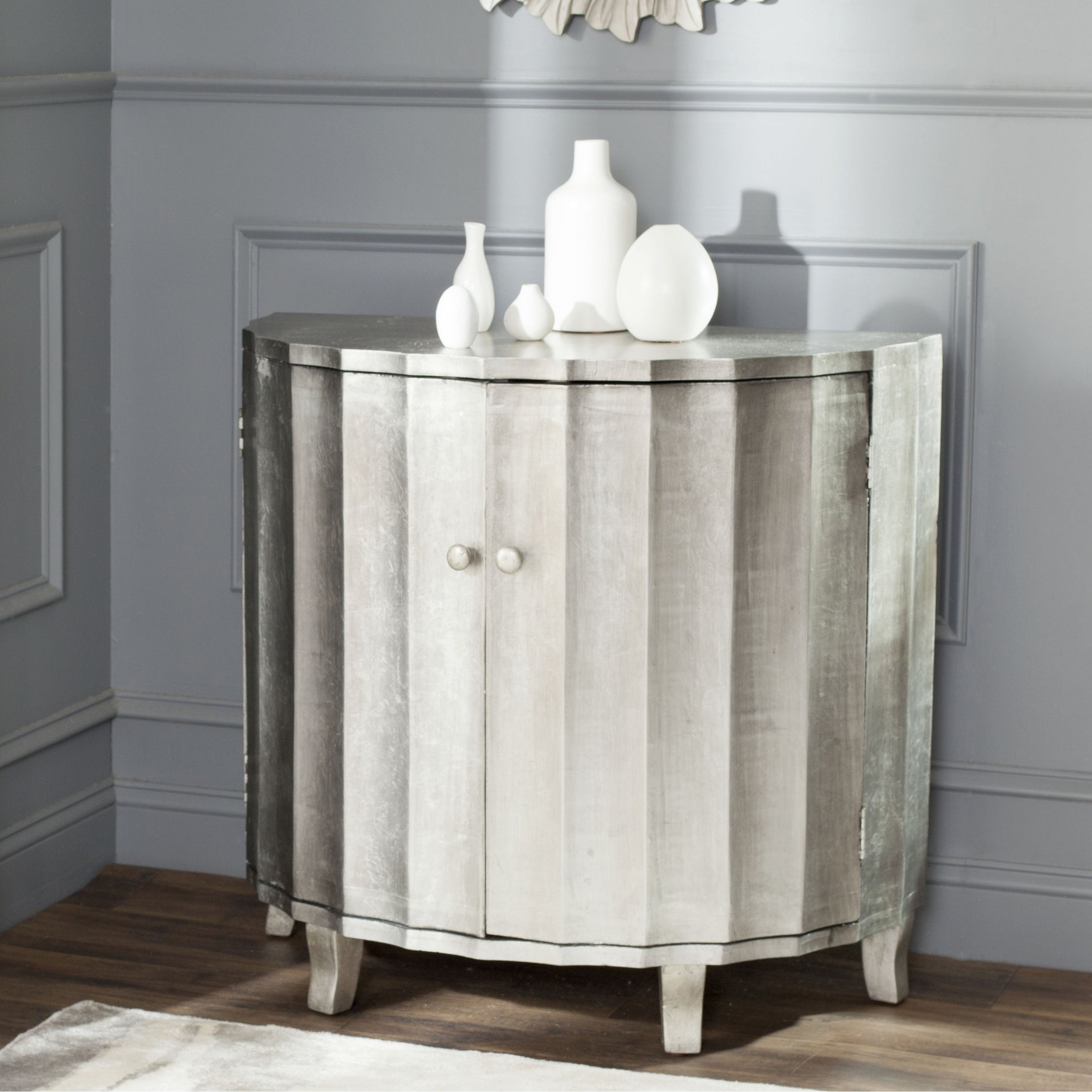 Safavieh Rutherford Demilune Silver Leaf Cabinet Throughout Most Up To Date Rutherford Sideboards (Gallery 10 of 20)
