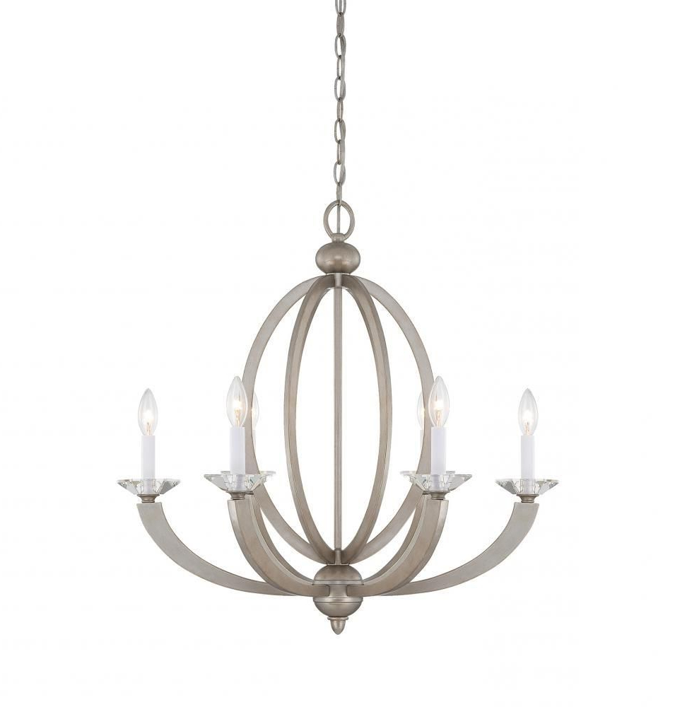 Savoy House 1 1551 6 307 – Forum 6 Light Chandelier, Silver With Fashionable Bennington 6 Light Candle Style Chandeliers (Gallery 14 of 20)