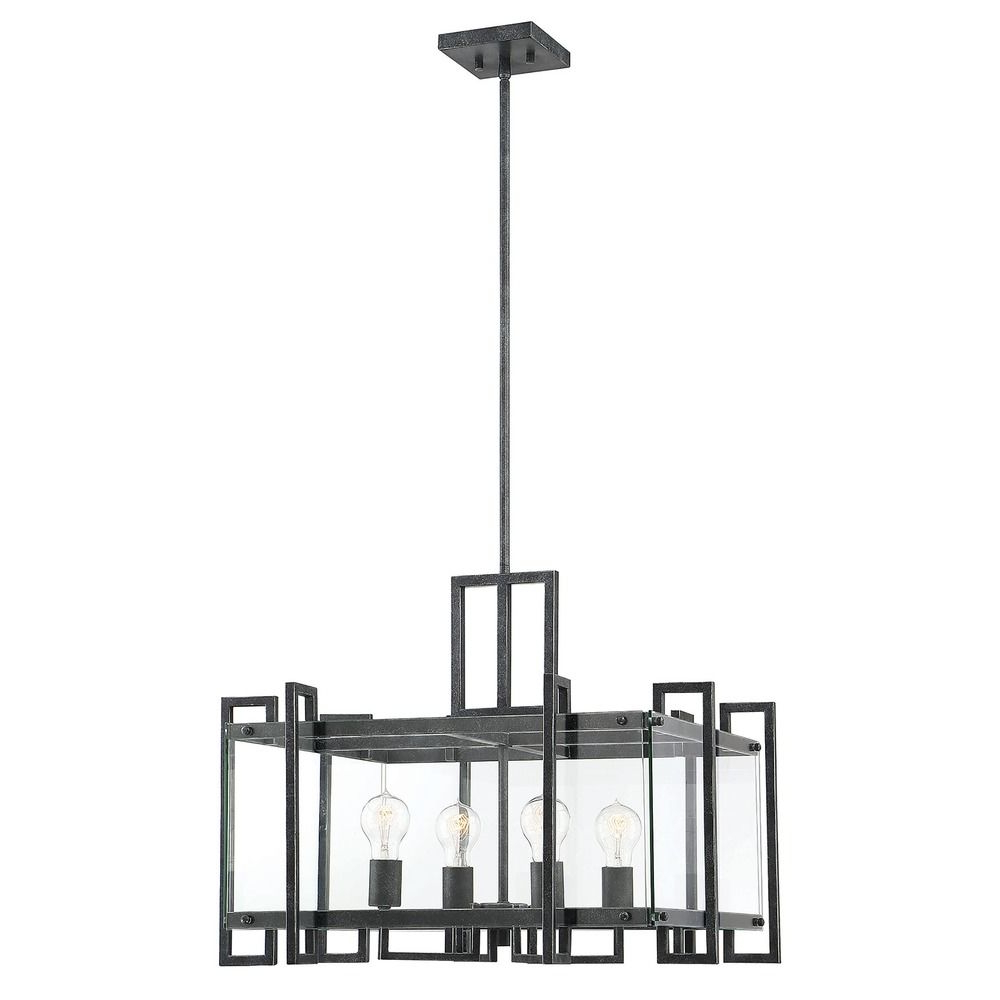 Savoy House Bennington Black Steel Pendant With Clear Glass At Destination  Lighting Pertaining To Recent Bennington 6 Light Candle Style Chandeliers (View 17 of 20)