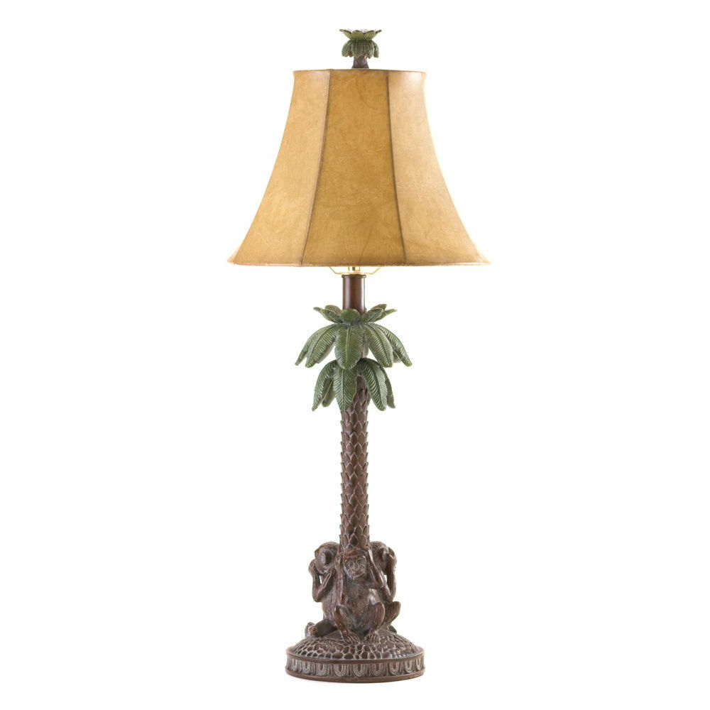 Schutt 5 Light Cluster Pendants Within Most Up To Date Tropical Monkey Bahama Palm Tree Table Lamp #tropical (View 17 of 20)