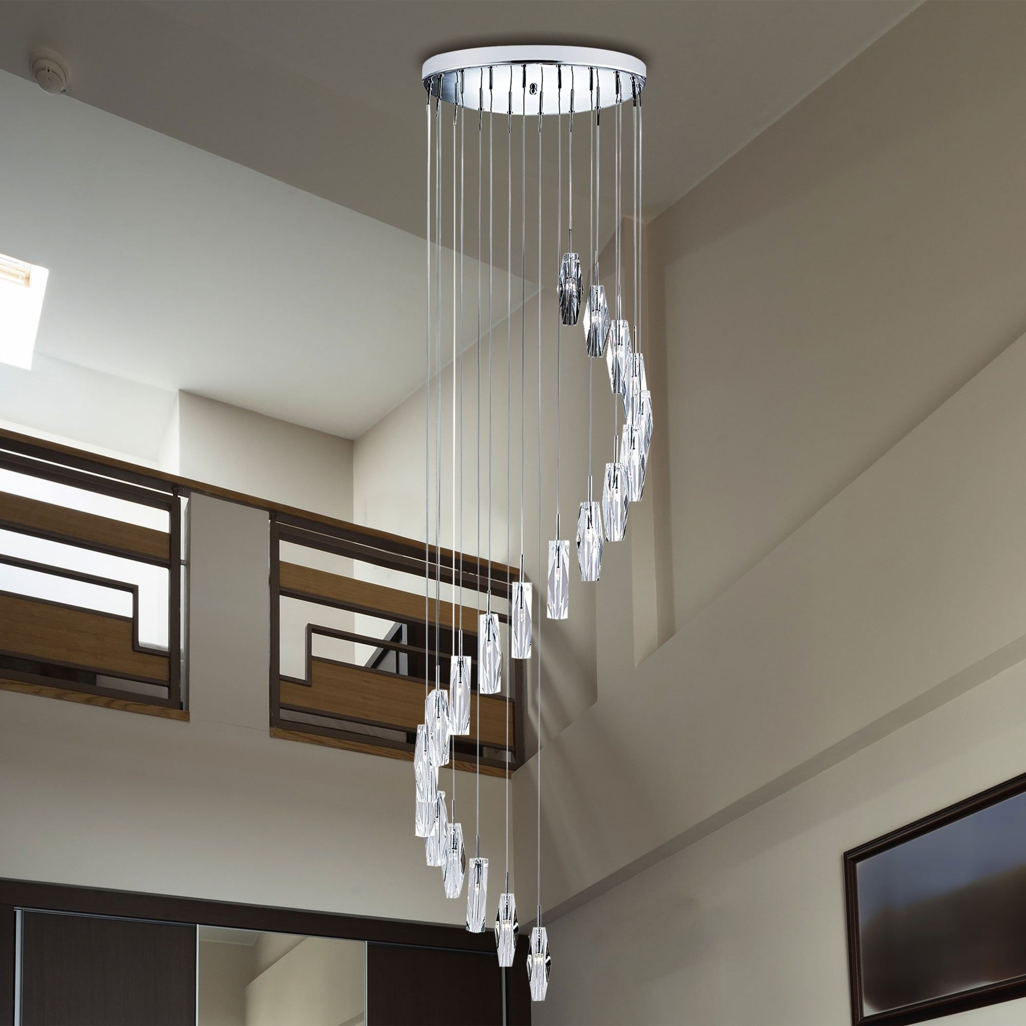 Sculptured Ice 20 Light Chrome And Crystal Glass Dangle Intended For Famous Buster 5 Light Drum Chandeliers (View 15 of 20)
