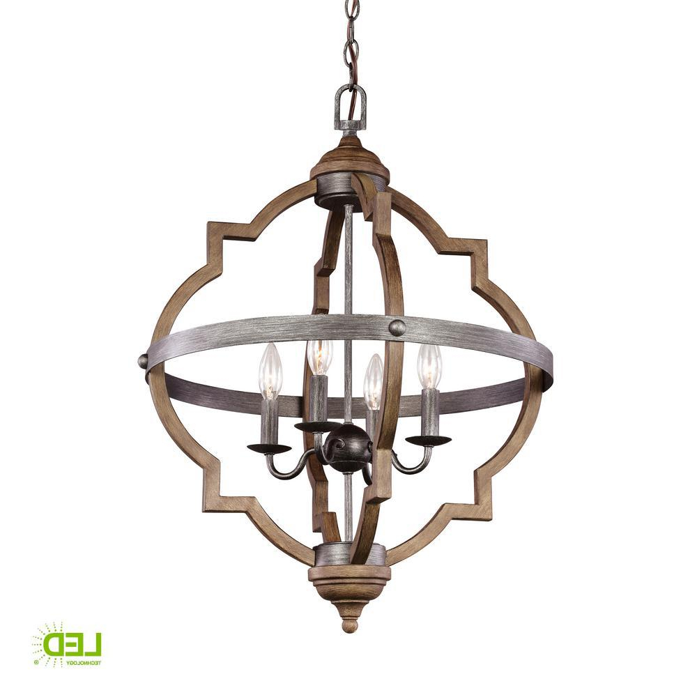 Sea Gull Lighting Socorro 20.875 In. W. 4 Light Weathered Inside Current Bennington 4 Light Candle Style Chandeliers (Gallery 17 of 20)