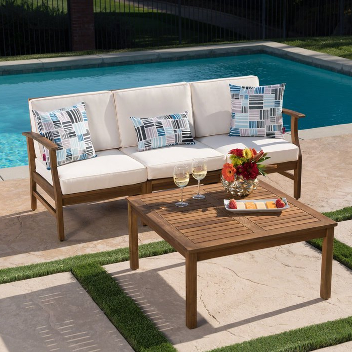 Seaham Patio Sectionals With Cushions For Recent Antonia Outdoor 2 Piece Sofa Set With Cushions (View 12 of 20)