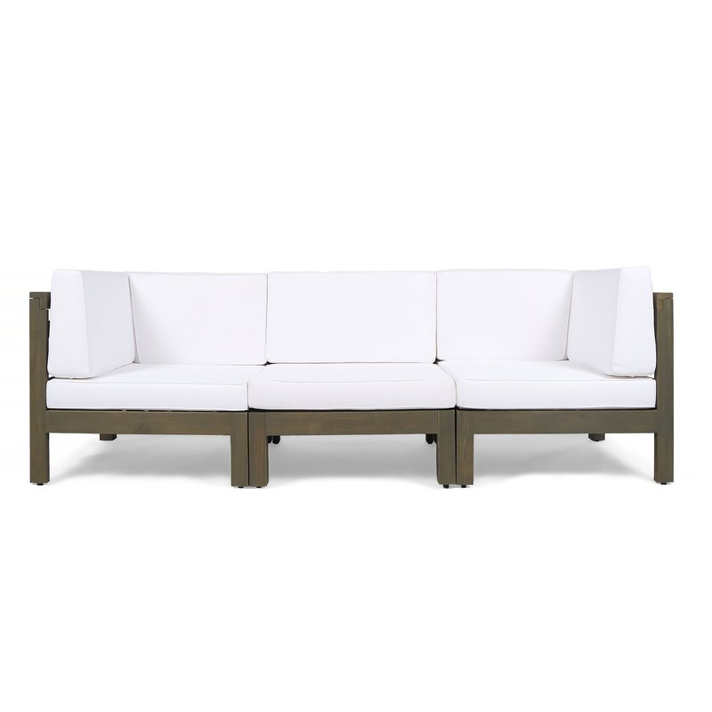 Seaham Teak Patio Sofa With Cushions In Preferred Seaham Patio Sectionals With Cushions (View 17 of 20)