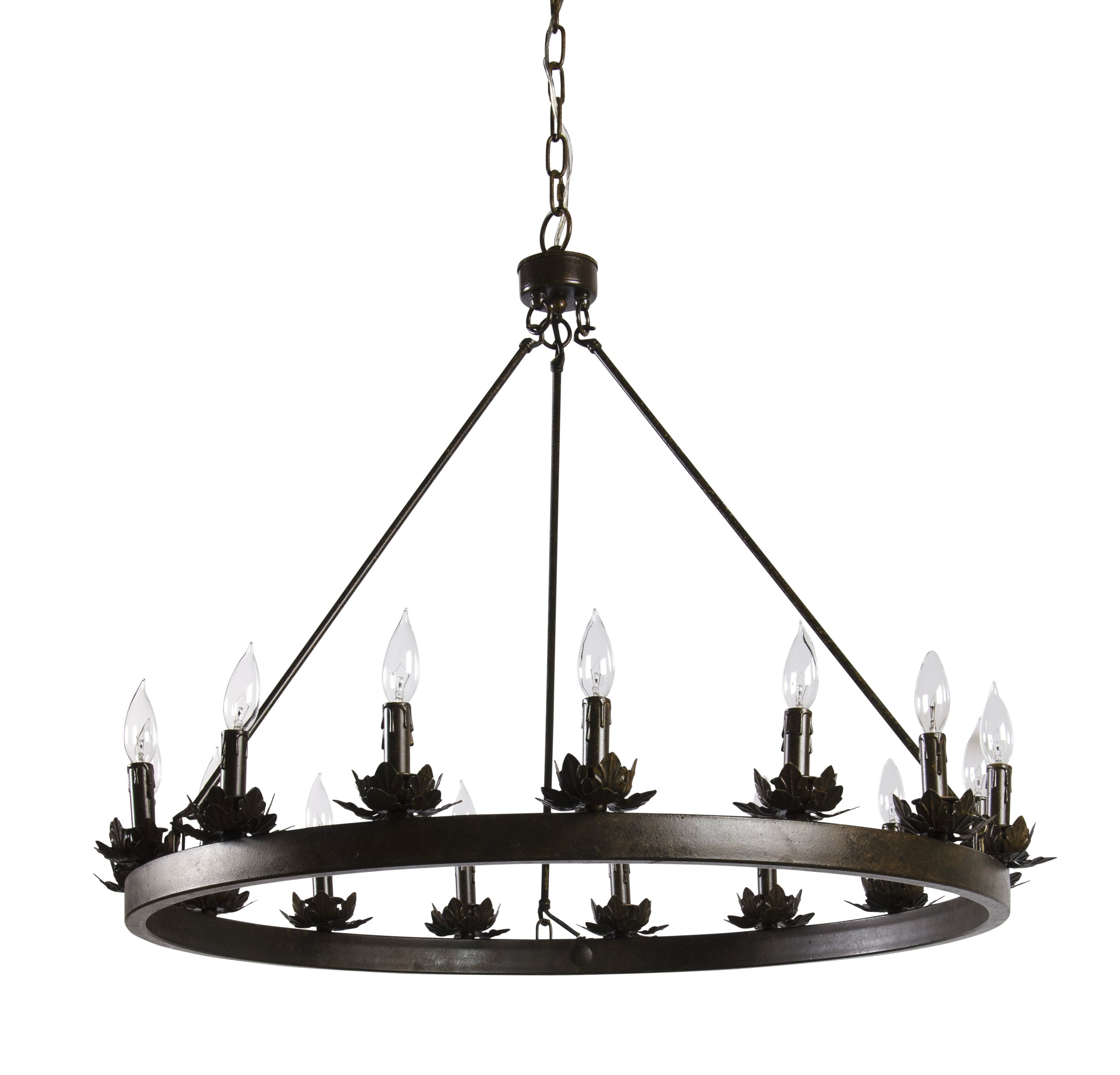 Shayla 12 Light Wagon Wheel Chandeliers Intended For Recent Mcmahon 12 Light Wagon Wheel Chandelier (View 11 of 20)