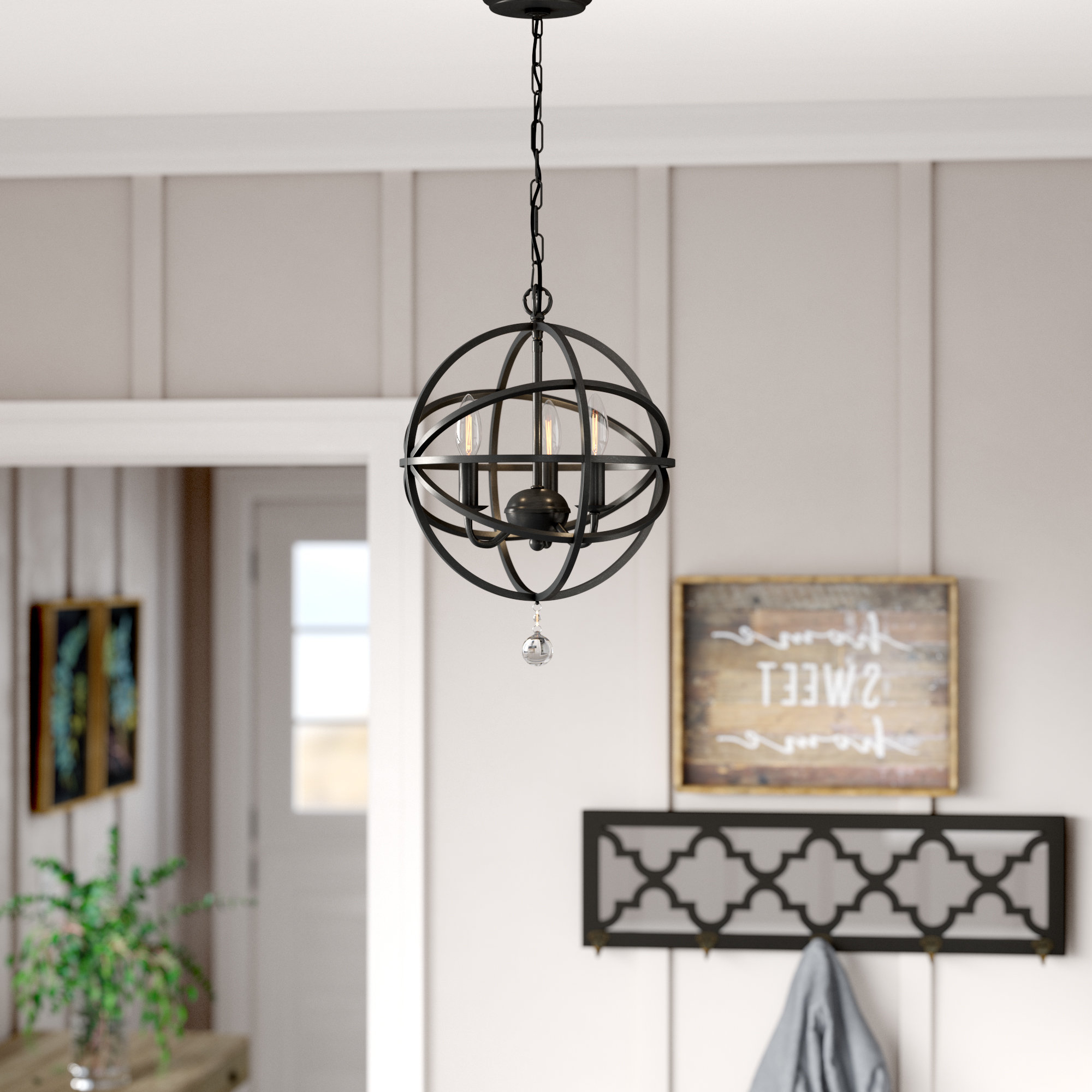 Shipststour 3 Light Globe Chandeliers For Famous Gracie Oaks Eastcote 3 Light Globe Chandelier & Reviews (View 16 of 20)