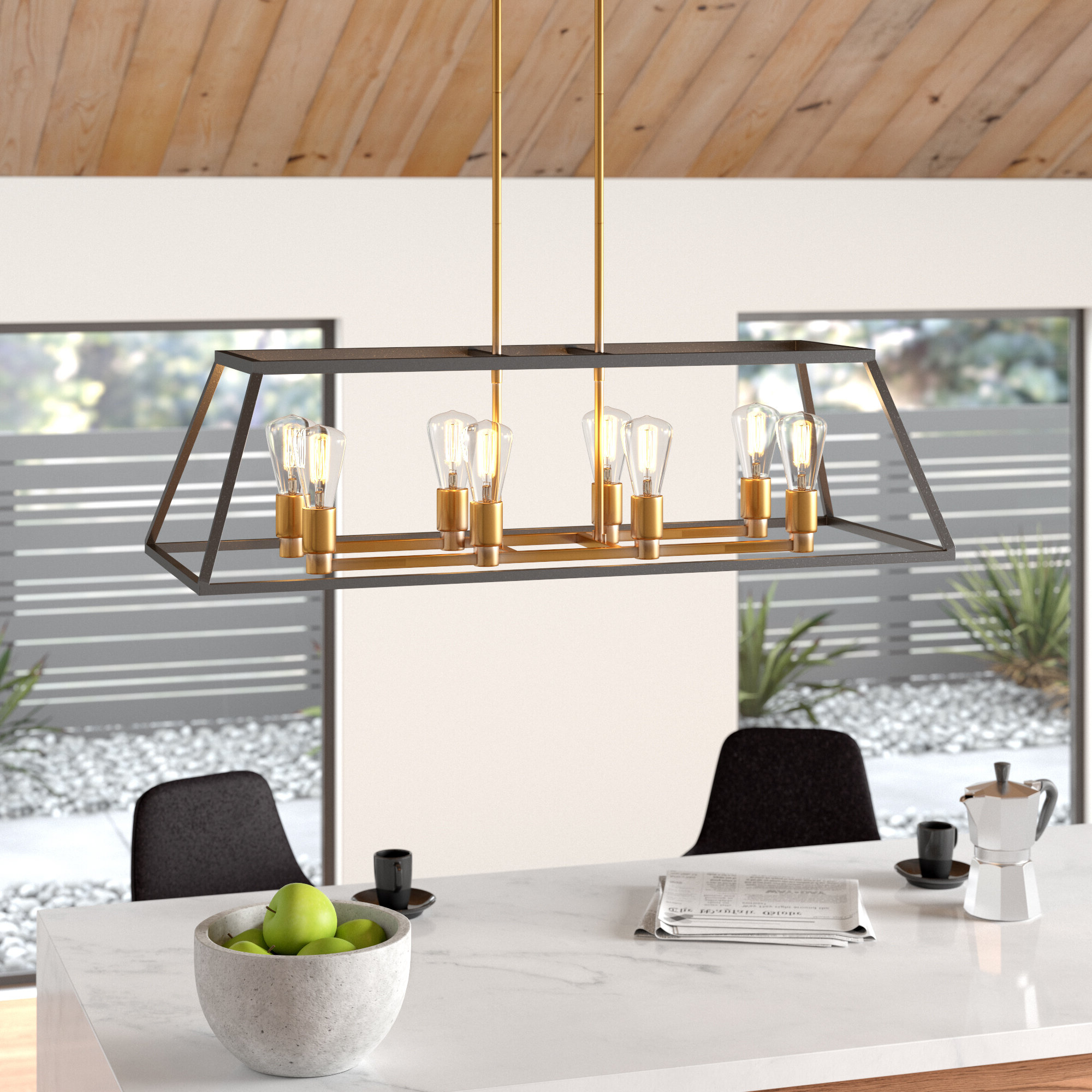 Shisler 8 Light Kitchen Island Linear Pendant Pertaining To 2019 Odie 8 Light Kitchen Island Square / Rectangle Pendants (View 14 of 20)