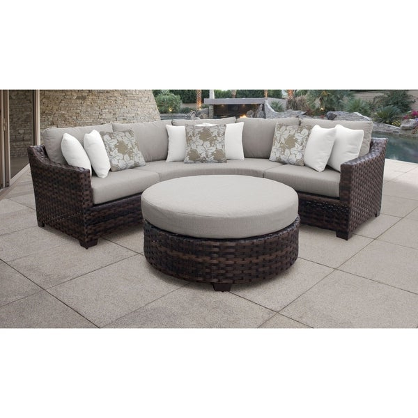 Shop Kathy Ireland River Brook 4 Piece Outdoor Wicker Patio In Preferred Oreland Patio Sofas With Cushions (View 18 of 20)