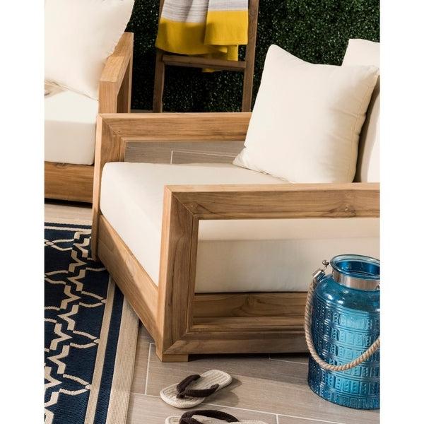 Shop Safavieh Couture Outdoor Montford Teak Brown / Beige Throughout Recent Montford Teak Loveseats With Cushions (View 19 of 20)