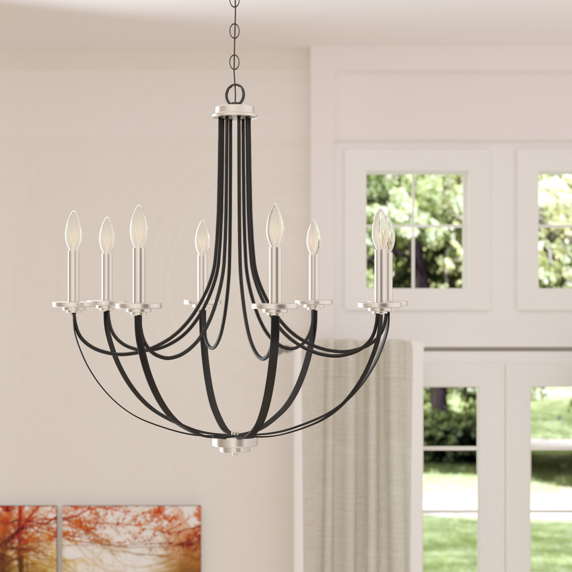 Siavash Mystic Black 8 Light Candle Style Chandelier Regarding Most Popular Shaylee 8 Light Candle Style Chandeliers (View 19 of 20)