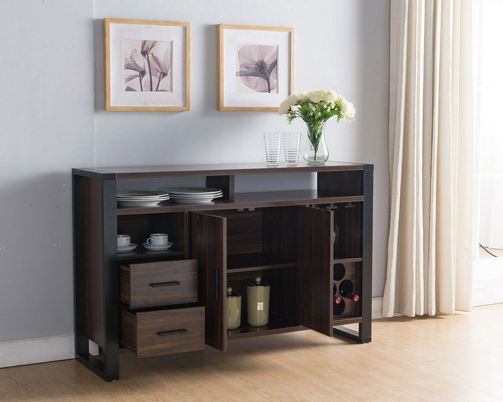 Sideboards By Wildon Home Pertaining To Fashionable 161640 Smart Home Dark Walnut & Black Wine Bar Sideboard Buffet Table (View 3 of 20)