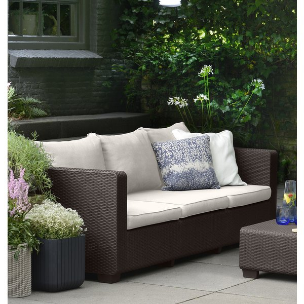 Silloth Patio Sofas With Cushions Within Most Recently Released Halloran Patio Sofa With Sunbrella Cushions (View 13 of 20)