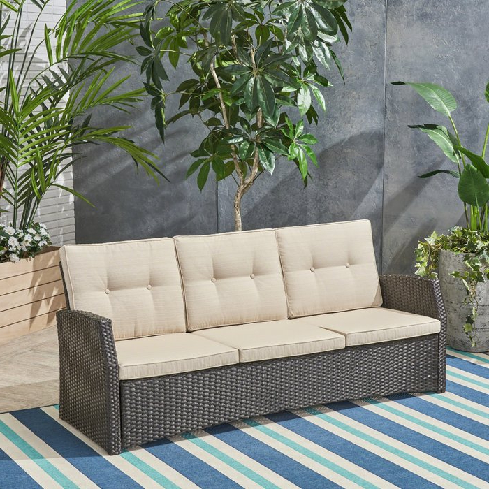 Silloth Patio Sofas With Cushions Within Preferred Loganville Patio Sofa With Cushions (View 14 of 20)