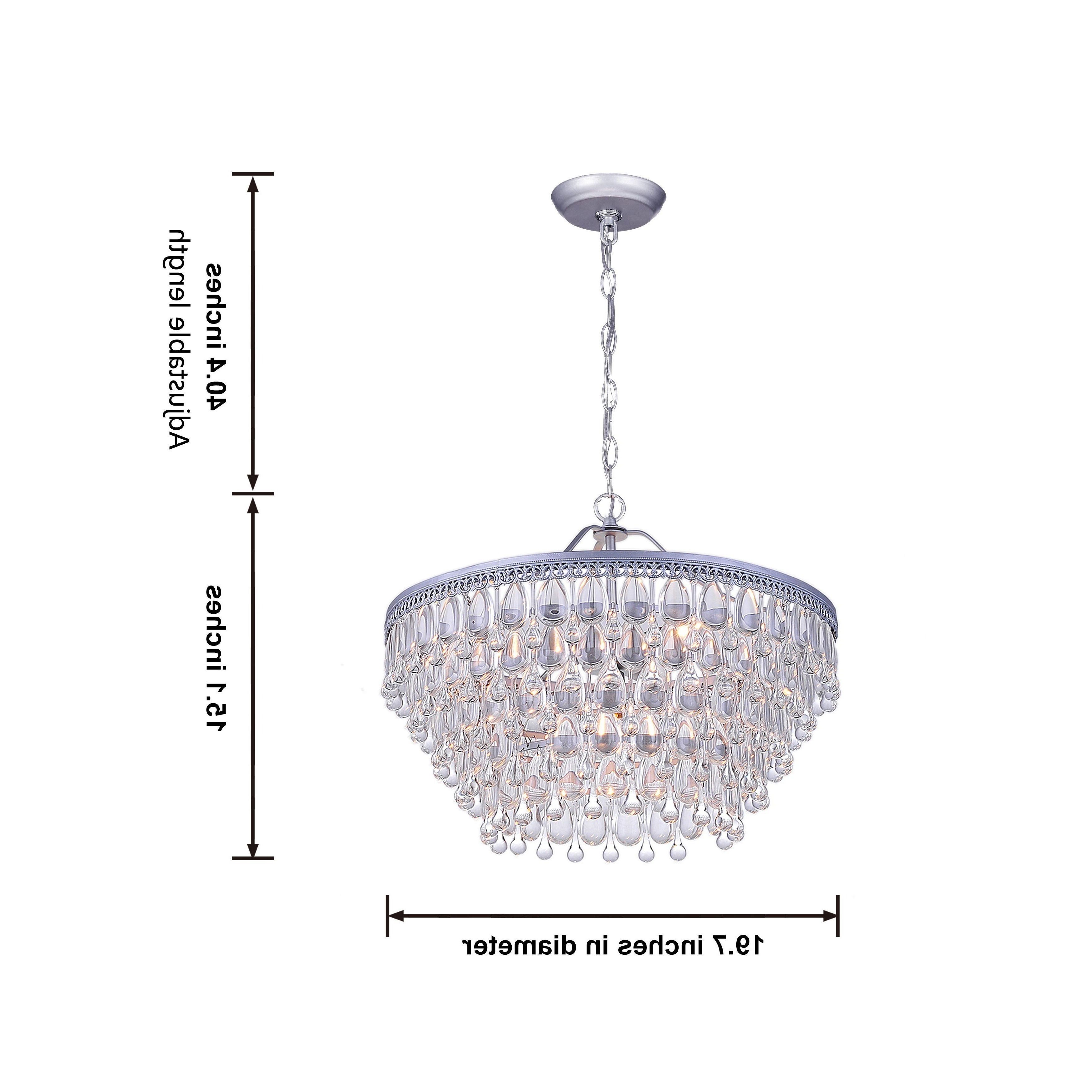 Silver Orchid Crystal 6 Light Chandelier With Clear Teardrop Beads In Best And Newest Bramers 6 Light Novelty Chandeliers (View 16 of 20)