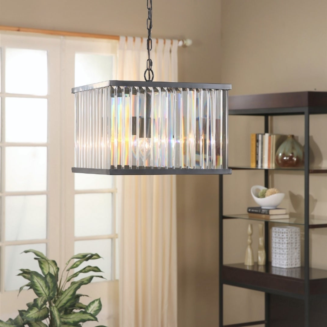 Silvia 6 Light Sputnik Chandeliers Throughout Well Known Abbyson Stella Black Square 4 Light Chandelier (View 16 of 20)