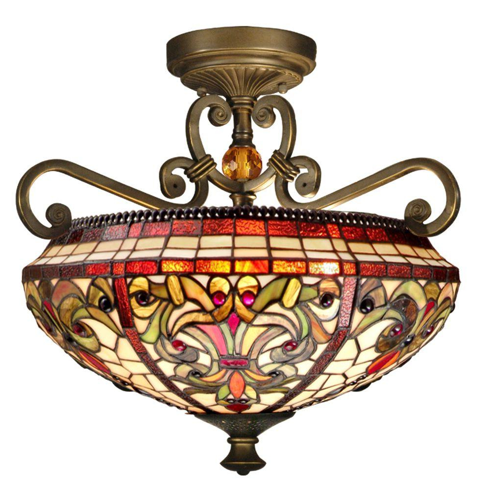 Sinead 4 Light Chandeliers Pertaining To Most Current Dale Tiffany Baroque 2 Light Antique Golden Sand Semi Flush Mount Light (View 20 of 20)