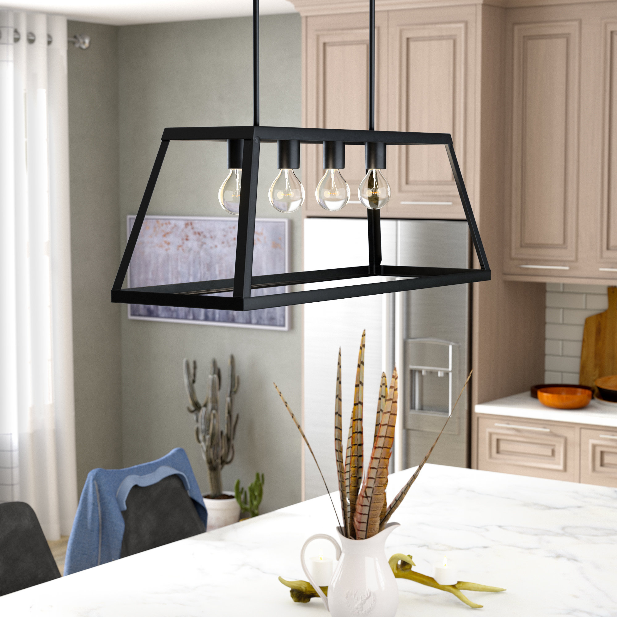 Sousa 4 Light Kitchen Island Linear Pendants In Newest Murray 4 Light Kitchen Island Linear Pendant (Gallery 10 of 20)